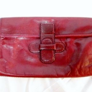 FRANCE LEATHER clutch bag flap purse